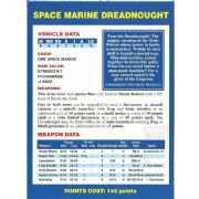 Space Marine Dreadnought Vehicle Data Card from Warhammer 40,000 2nd Edition